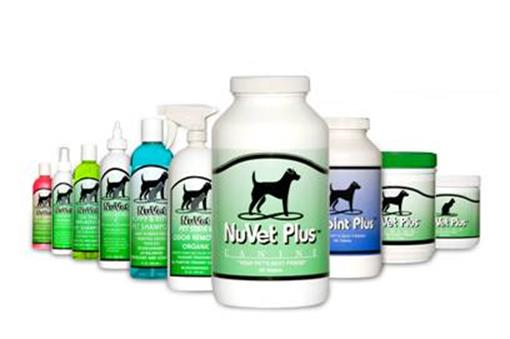NuVet Plus product bottles and containers