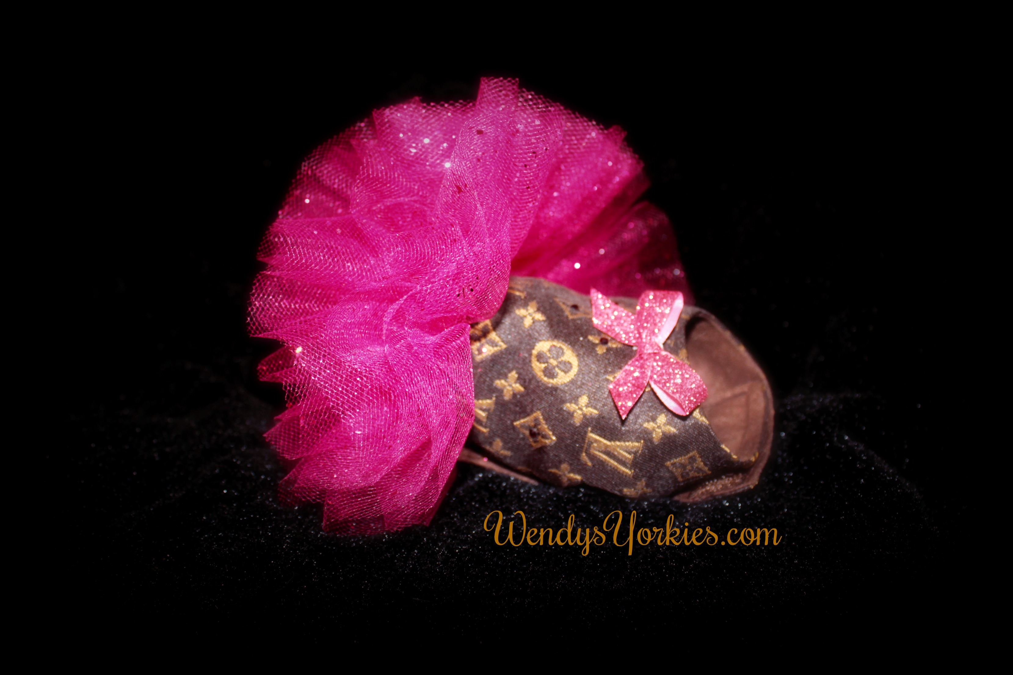 Yorkie Designer dog dress, Fuchsia Tutu for dos puppies, WendysYorkies.com