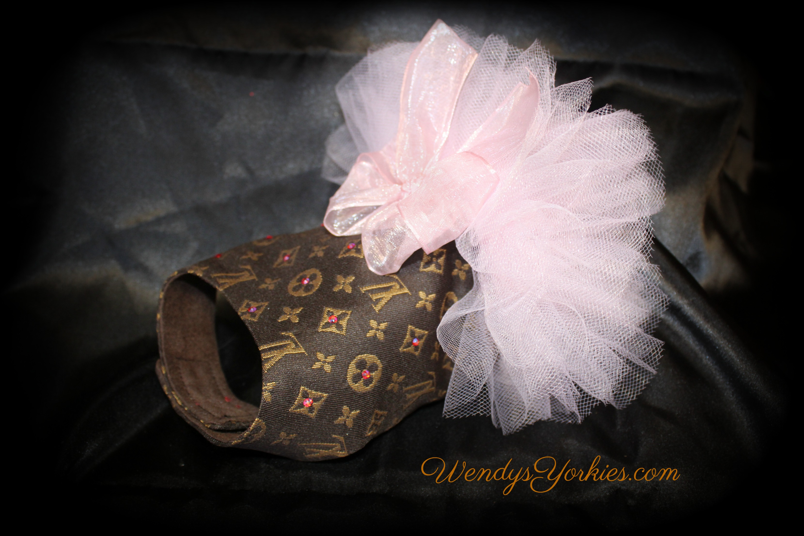 LV designer inspired dog dress, Pink Tutu LV puppy dress, WendysYorkies.com