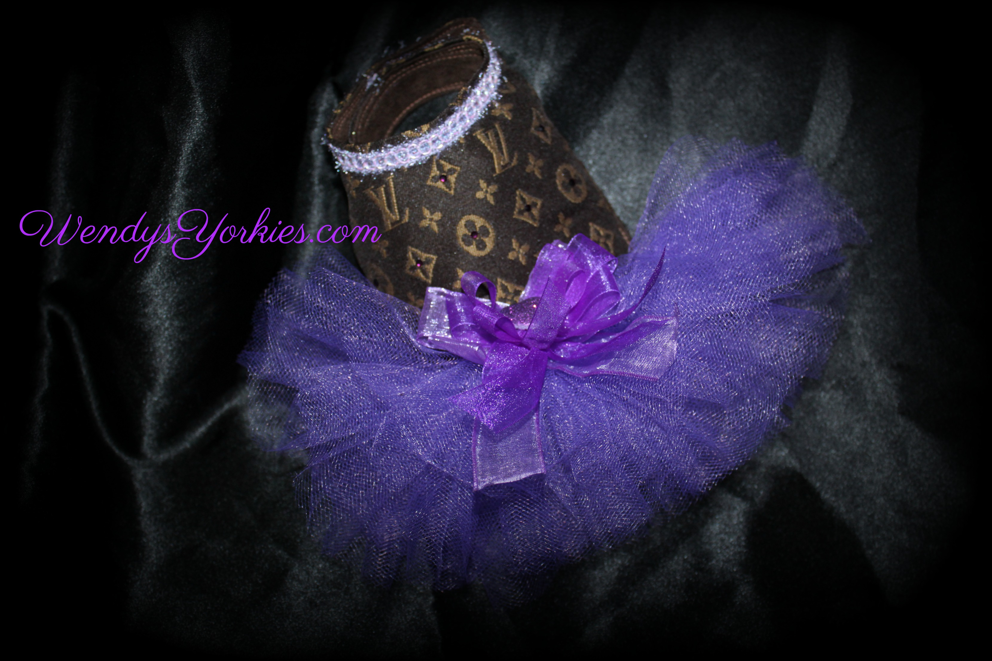 Purple Dog tutu Dress, Designer inspired LV dog dress, WendysYorkies.com