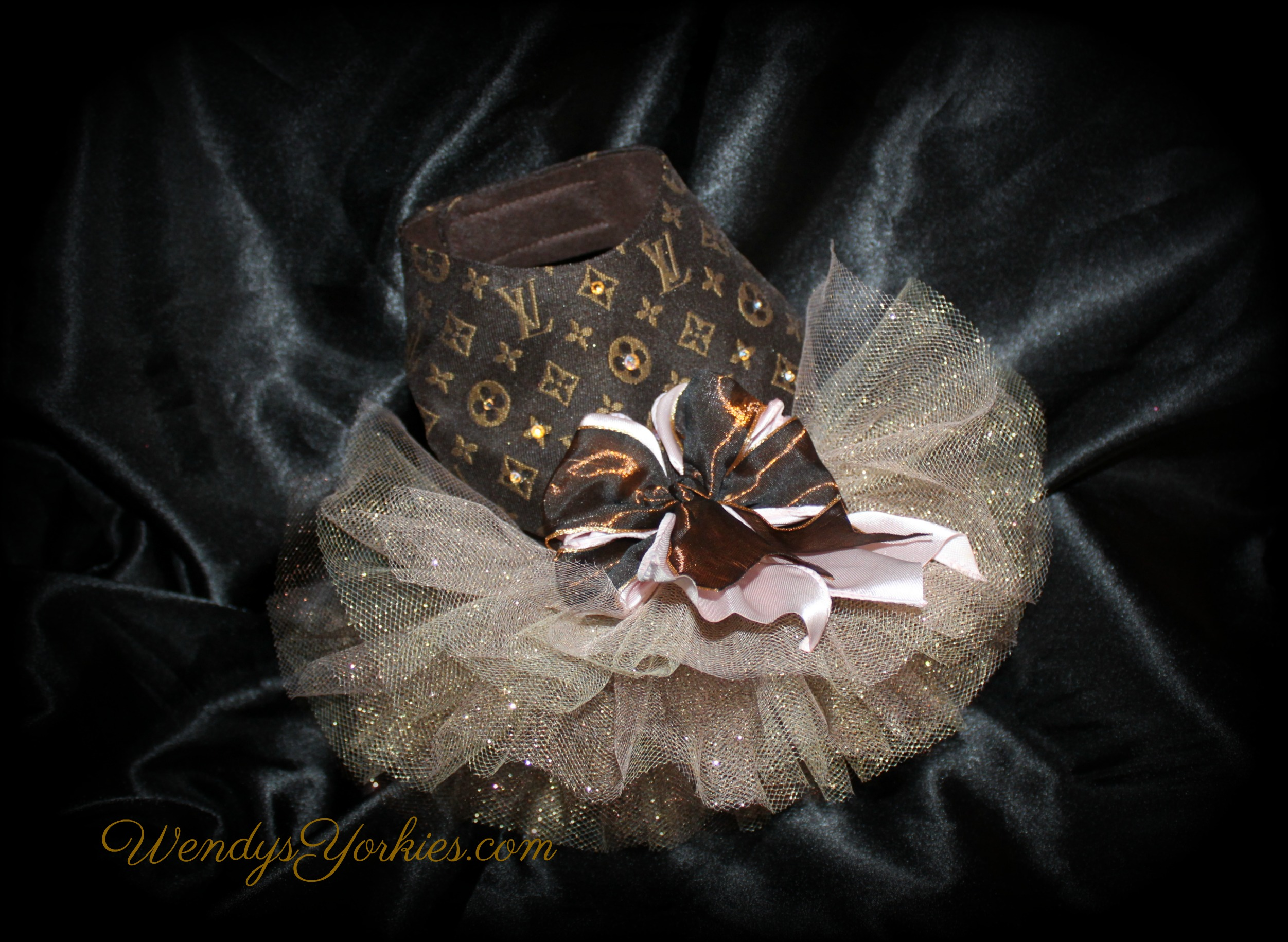 WendysYorkies.com, Designer Dog tutu, Yorkie dresses, LV Dog dresses for sale