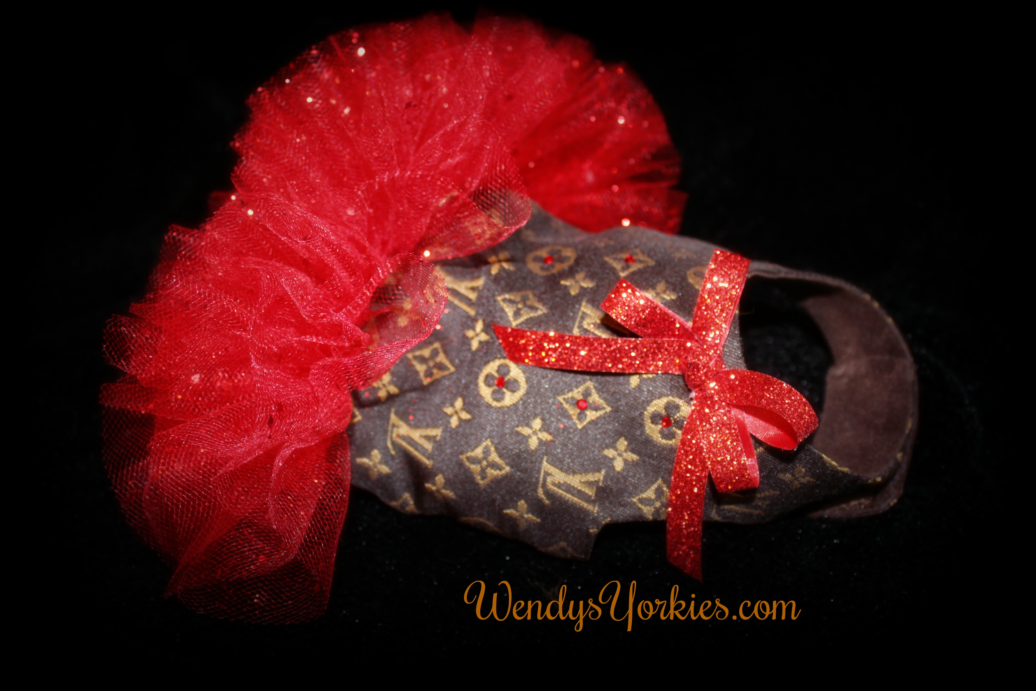 Yorkie designer dress, Red Tutu, WendysYorkies.com