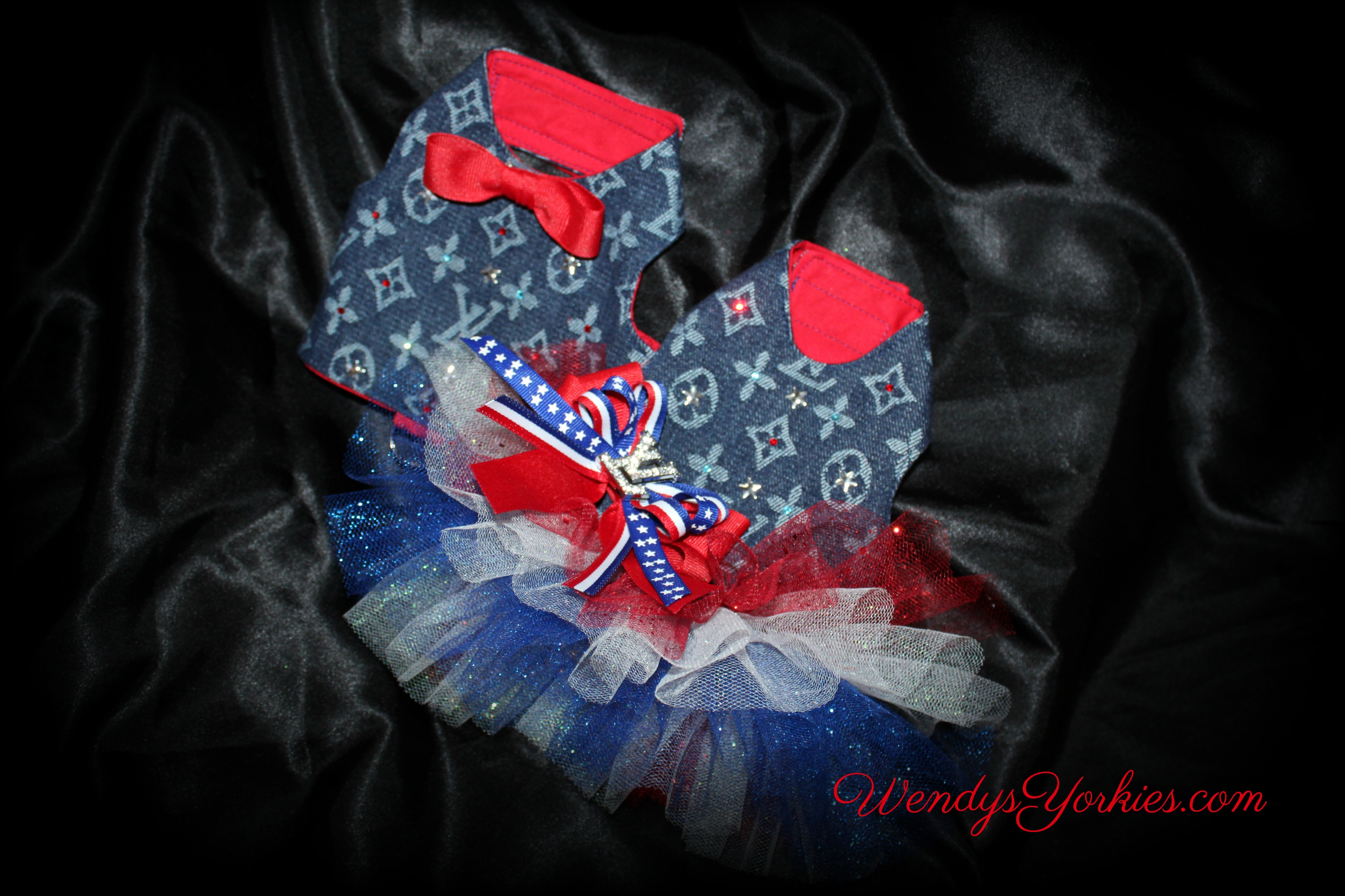 4 th of July Dog Dress, LV designer dog harness, WendysYorkies.com
