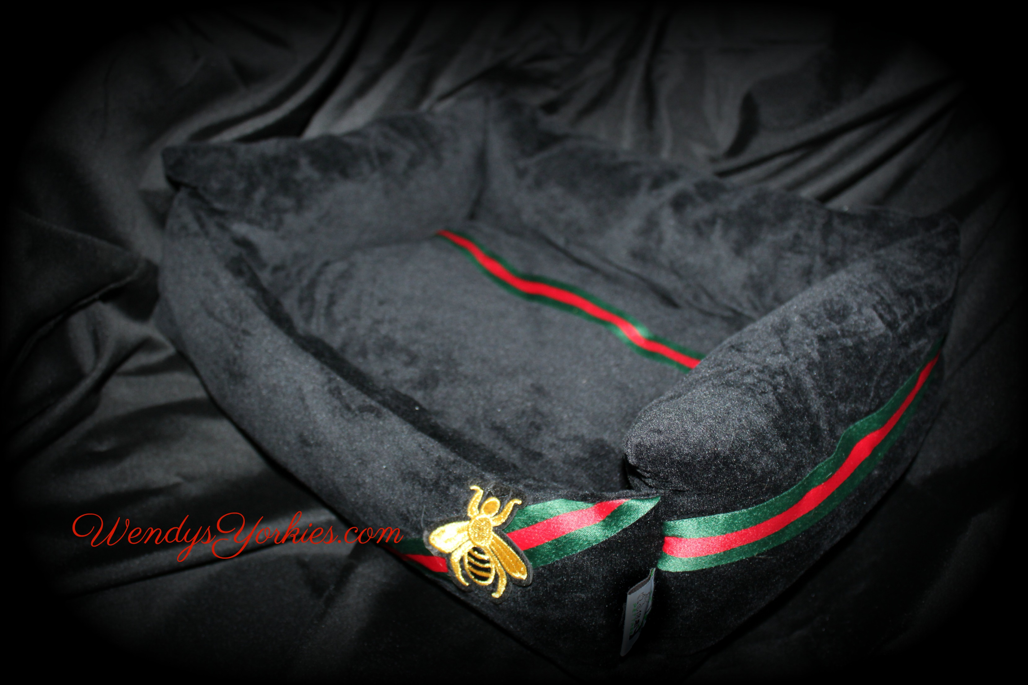 Black Designer inspired dog bed, WendysYorkies.com