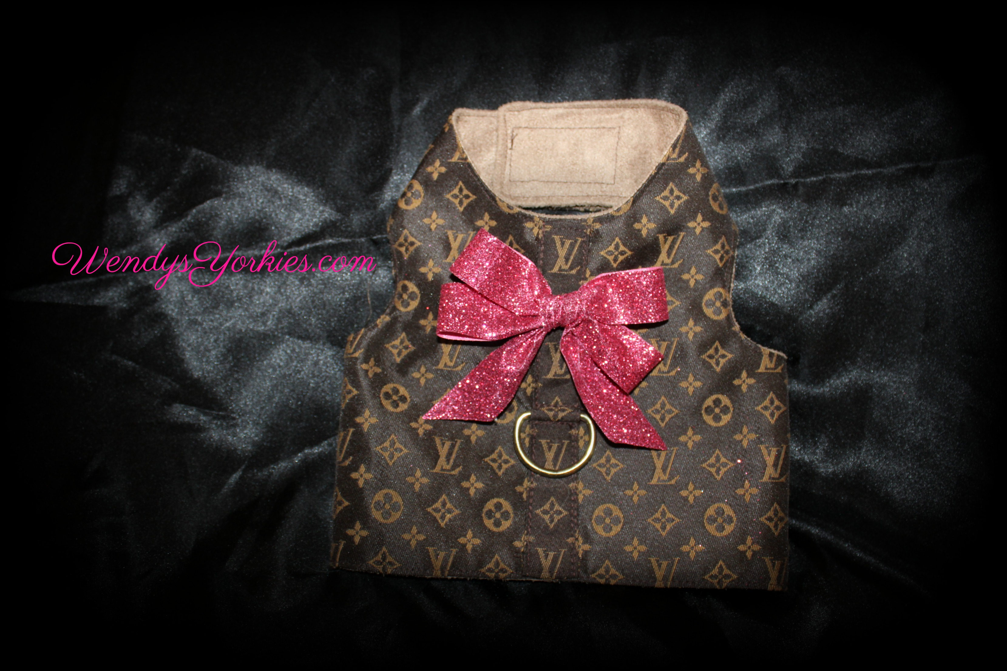 LV Dog harness, Raspberry, WendysYorkies.com