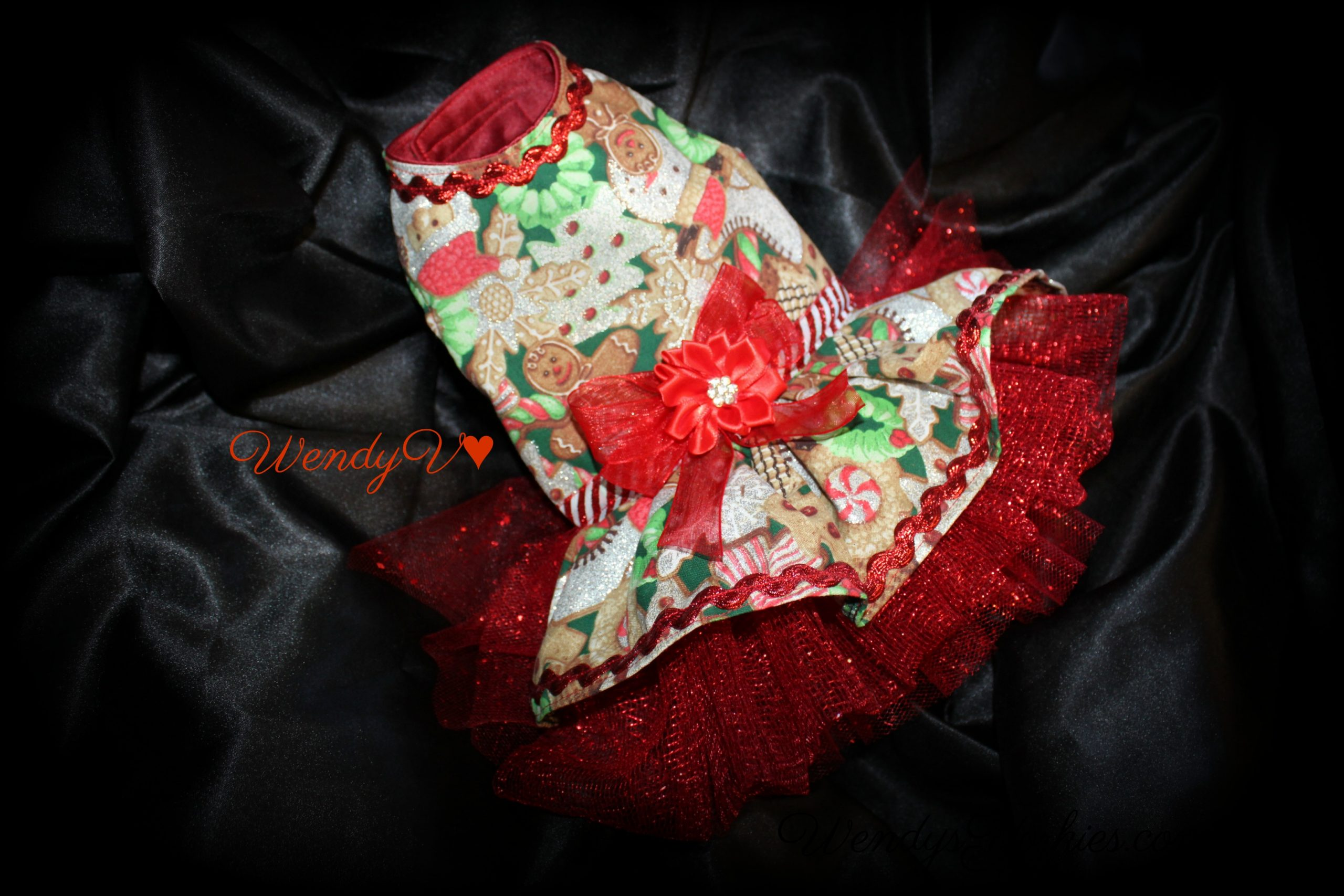 Christmas Dog dress, Coco's closet, WendysYorkies.com