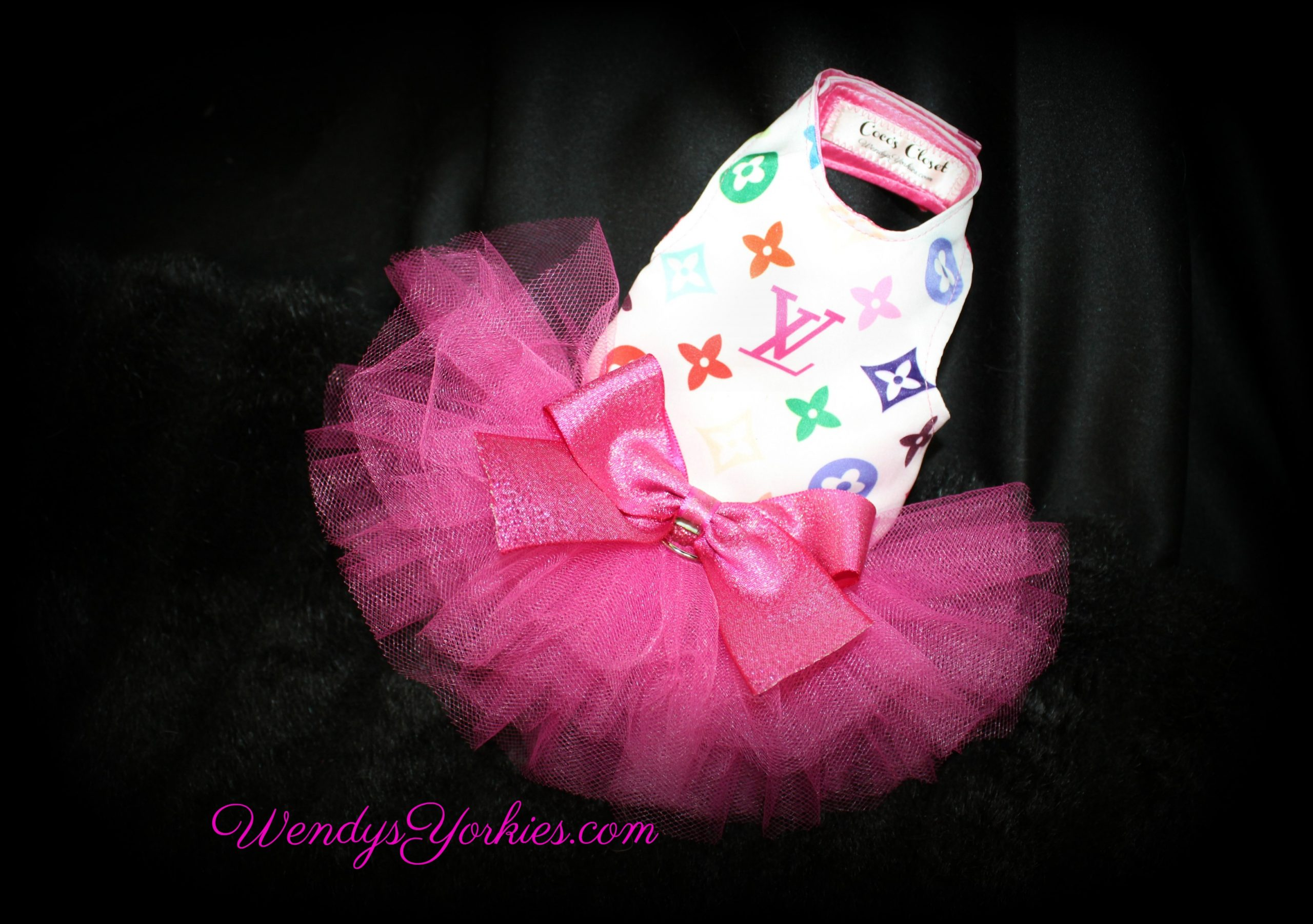 Colorful LV Dog tutu dress, WendysYorkies.com