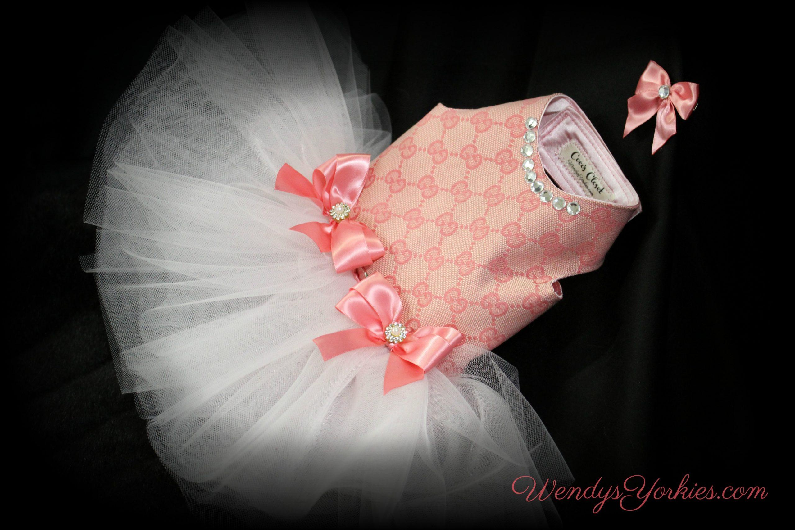 Pink GG Dog Tutu, Coco's Closet, WendysYorkies.com