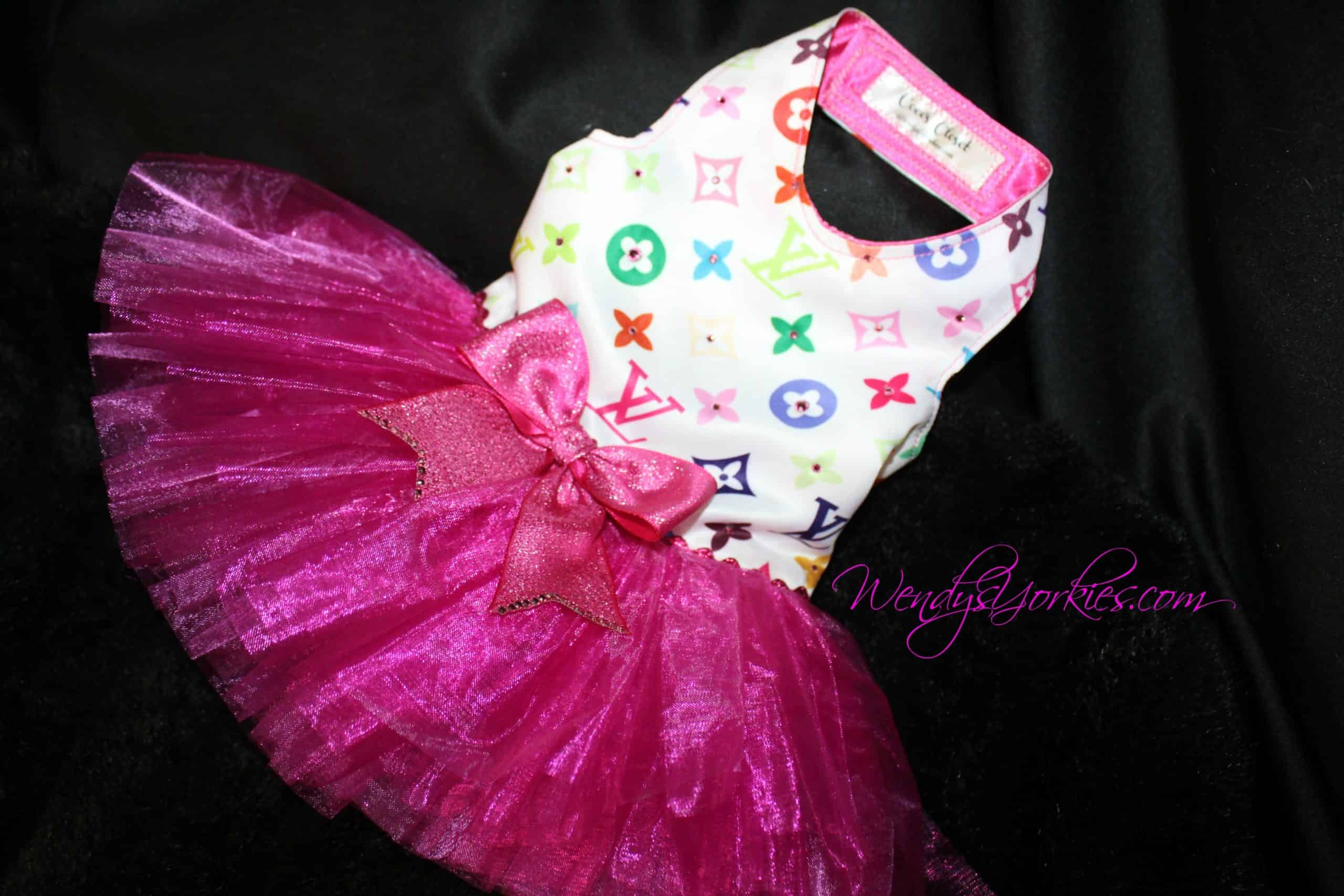 Colorful LV Dog tutu, WendysYorkies.com