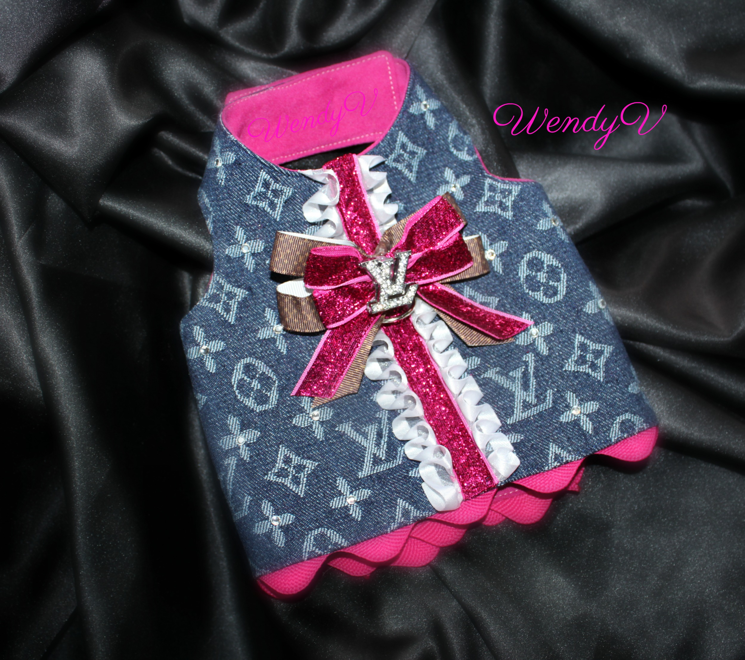 Denim LV Dog harness, Coco's closet, WendysYorkies.com