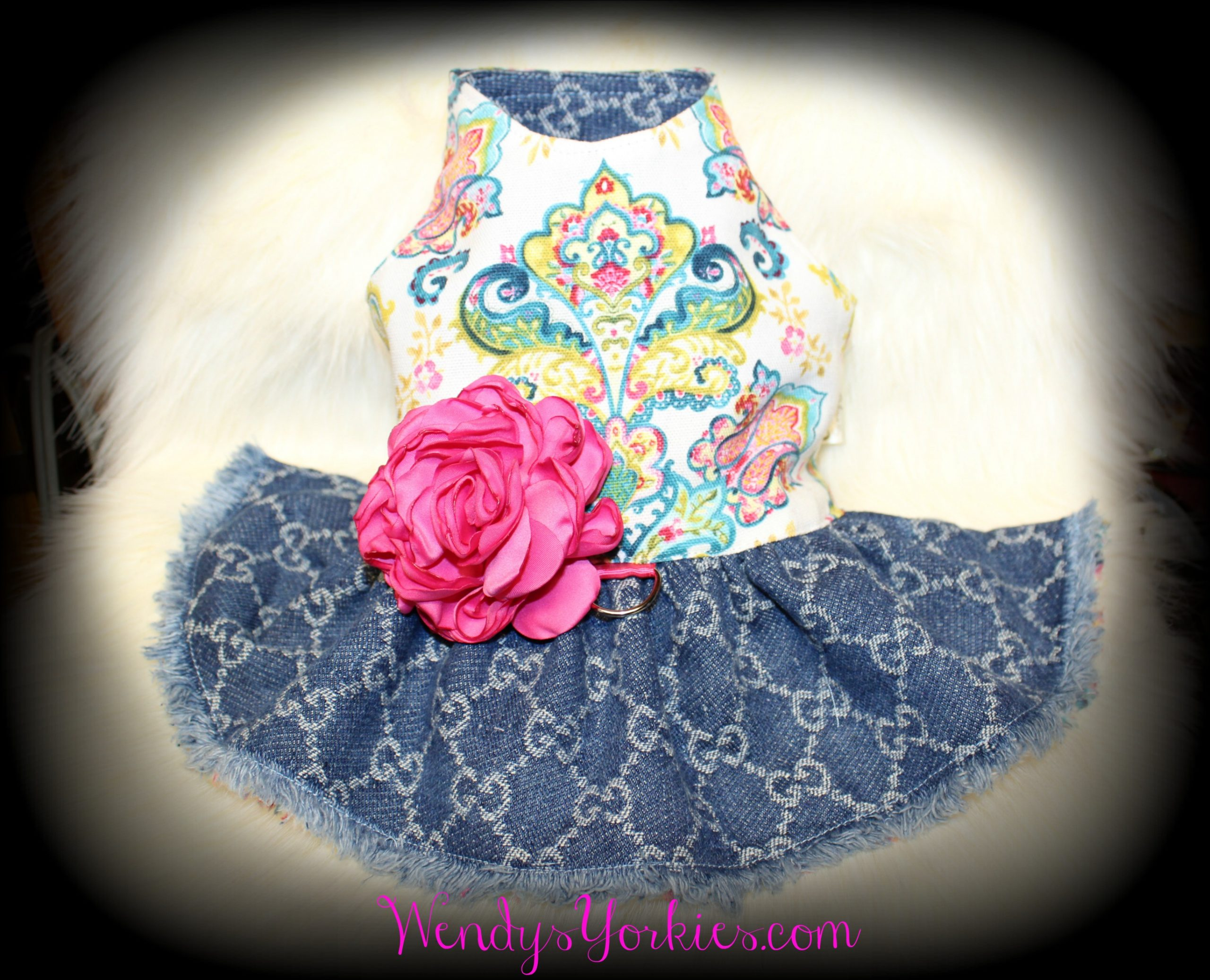 Designer Denim Dog Dress, WendysYorkeis.com