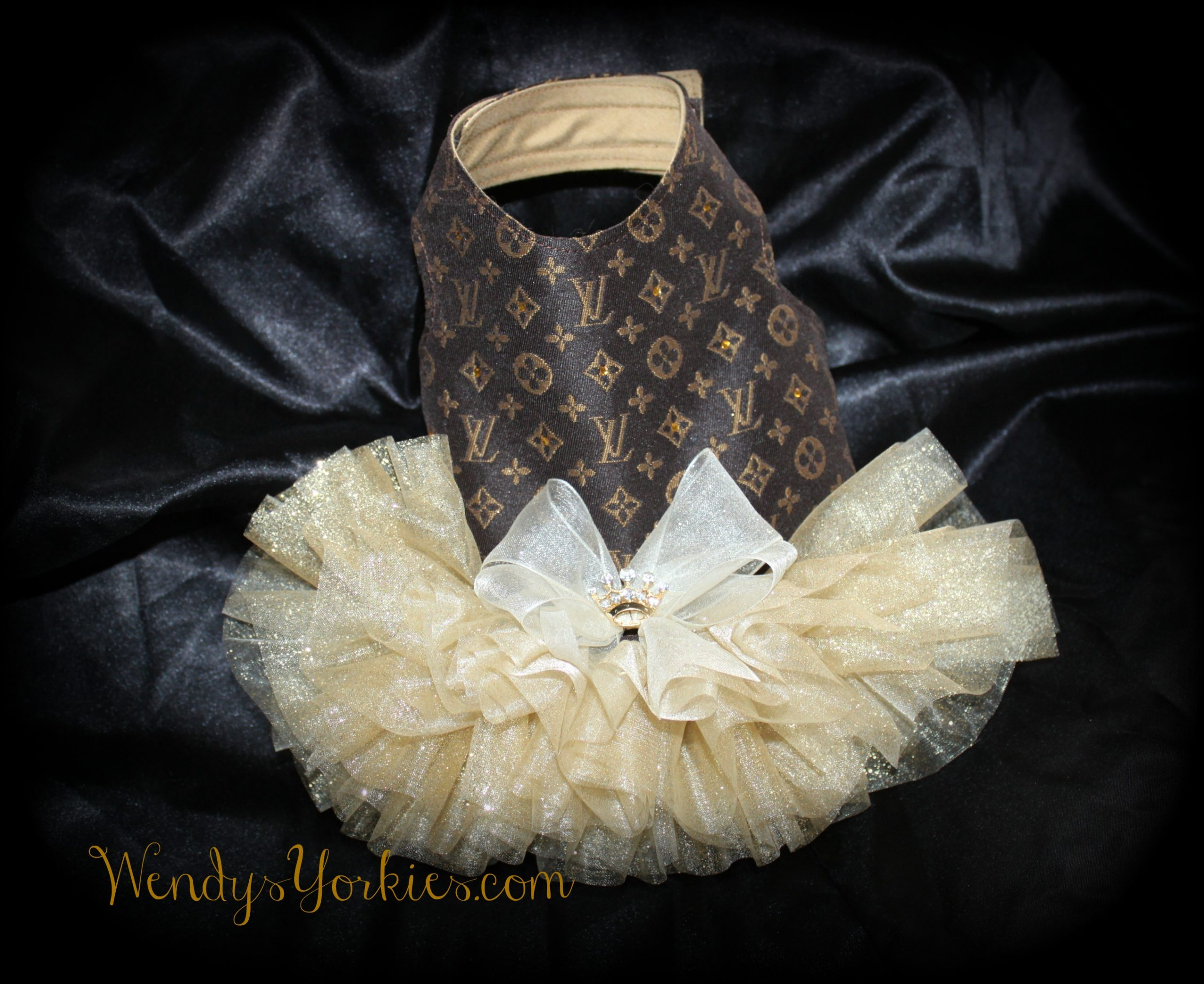 Designer inspired dog Dress, Gold LV Dog Tutu, WendysYorkies.com