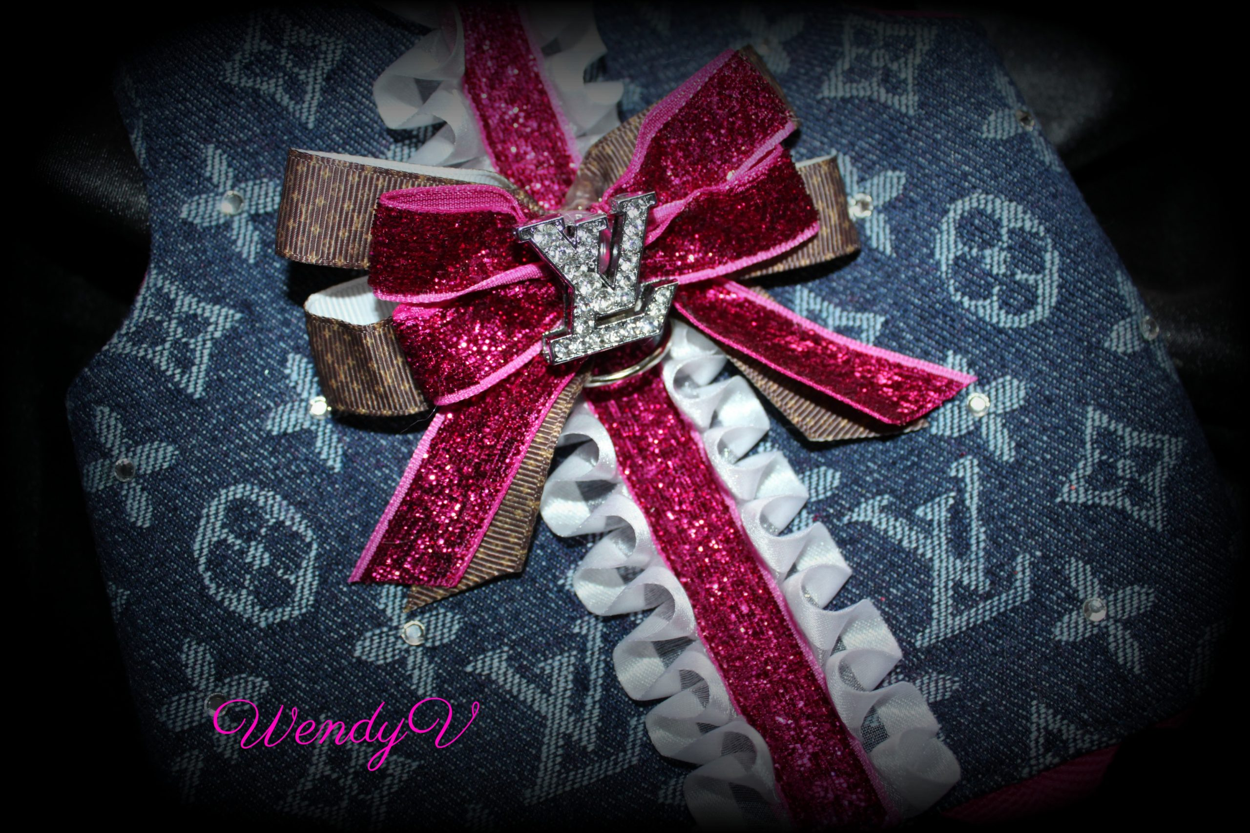 LV Dog bling bow, Coco's closet, WendysYorkies.com