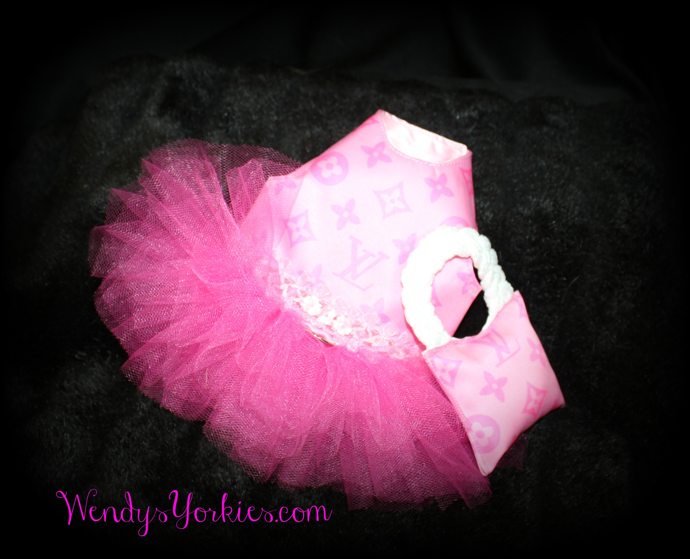 Pink LV DOG tutu dress, WendysYorkies.com